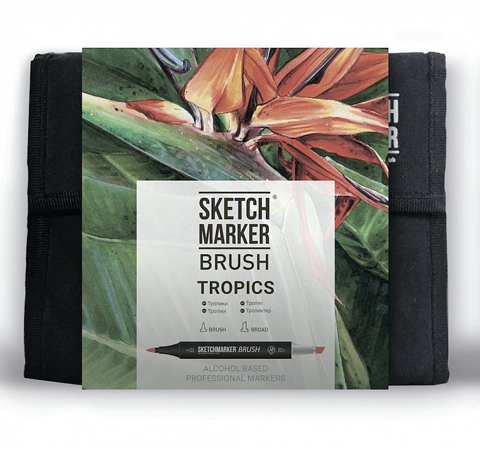 Купить Набор маркеров Sketchmarker Brush 36 Tropics Set- Тропики (36 маркеров+сумка органайзер), Япония
