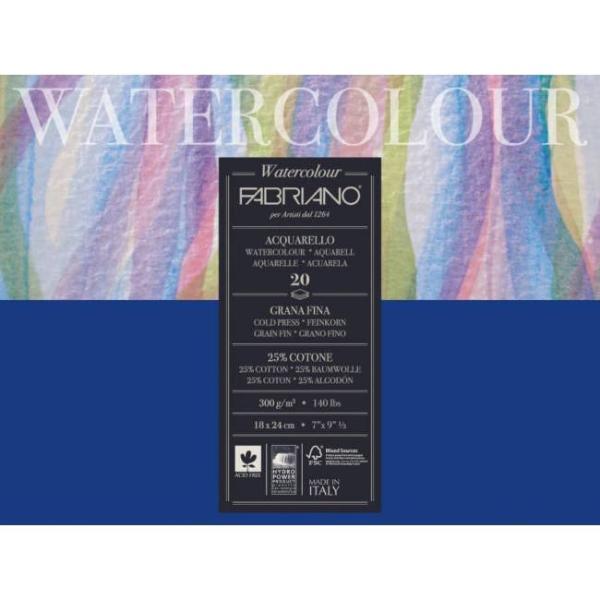 Купить Альбом-склейка для акварели Fabriano Watercolour 24х32 см 20 л 300 г, Италия