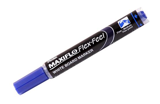Купить Маркер для досок с жидкими чернилами и кнопкой подкачки чернил Pentel Maxiflo 1-5 мм, синий, Япония