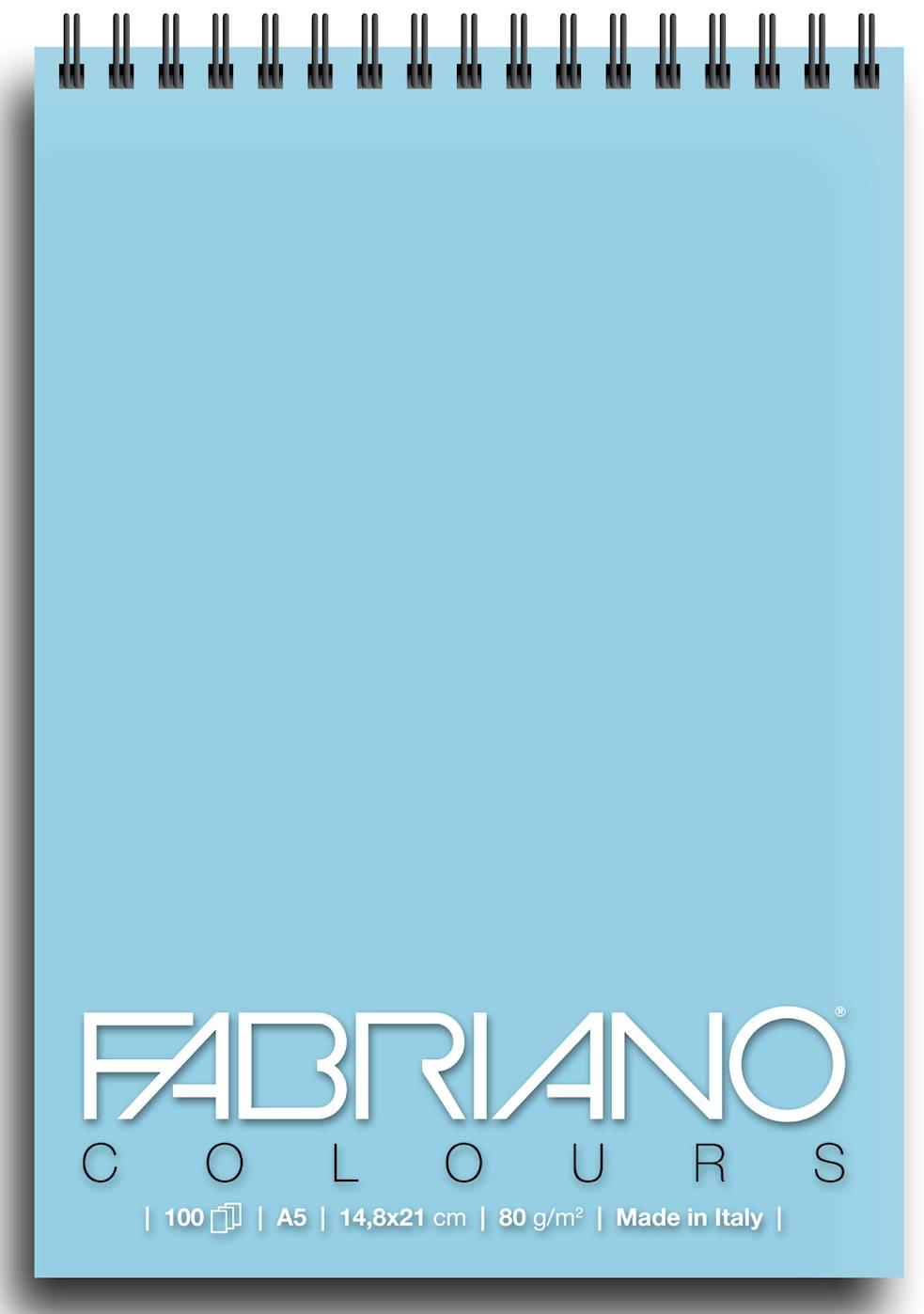 Альбом для графики на спирали Fabriano Writing Colors 148х21 см 100 л 80 г небесный.