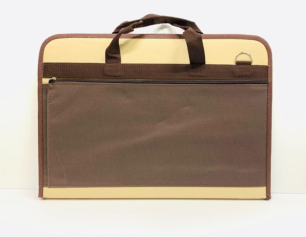 Папка А3 коричневая с бежевым карманом фото