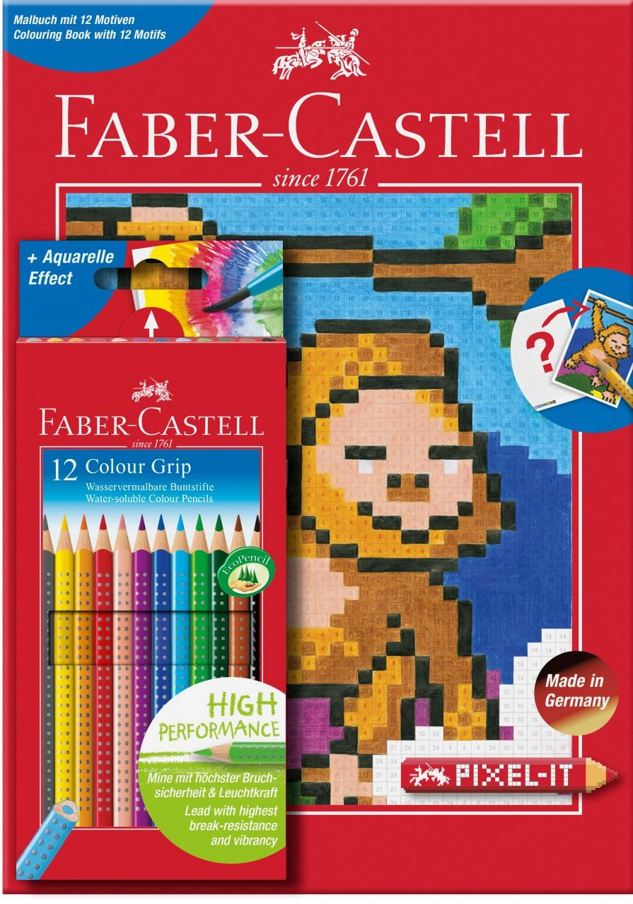"""Набор цветных карандашей Faber-castell """"Grip"""" 12 шт + раскраска, в картонной коробке"""
