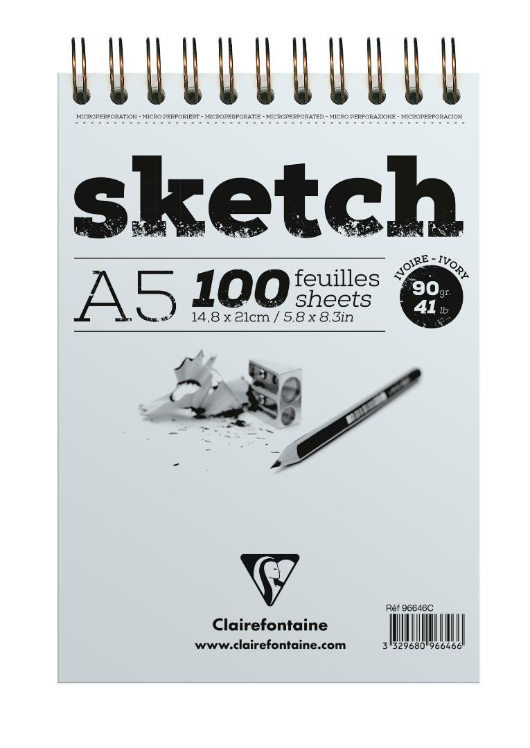 Купить Блокнот для эскизов на спирали Clairefontaine Sketch А5, Франция
