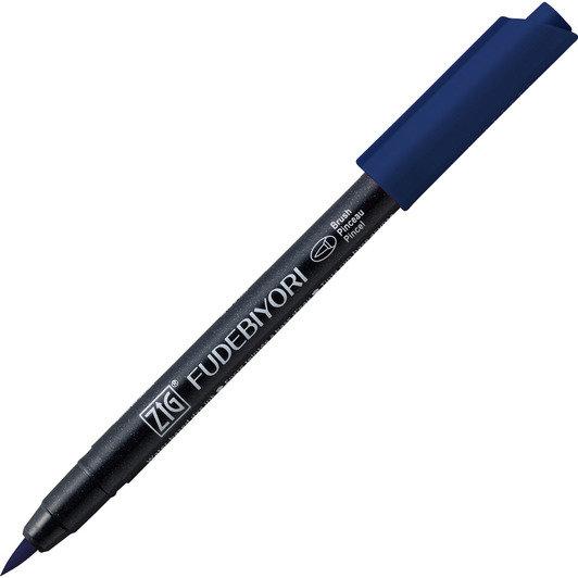 Купить Ручка на водной основе, перо кисть ZIG Kuretake Fudebiyori Глубокий голубой, Япония