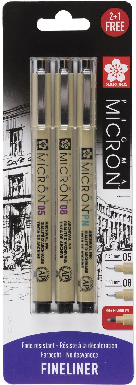 Купить Набор капиллярных ручек Sakura PIGMA MICRON 3 шт (0, 45мм 0, 5мм + ручка Pigma Micron PN), Япония