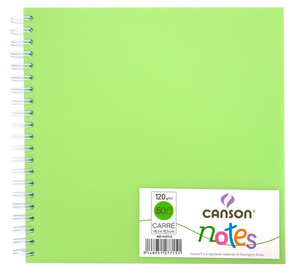 Купить Блокнот для графики на спирали Canson Notes 18, 5х18, 5 см 50 л 120 г, обложка пластик. зеленая, Франция