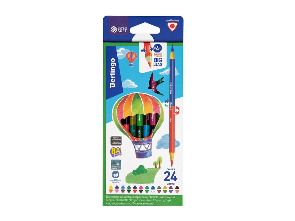 Купить Набор карандашей цветных двусторонние Berlingo SuperSoft. Duo 24 цв, 12 шт, Россия