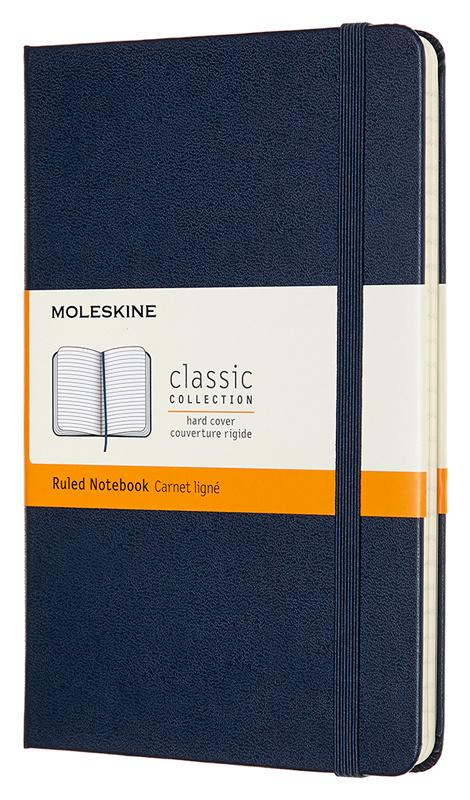 Записная книжка в линейку Moleskine Classic Medium 115х18 см 240 стр твердая обложка синяя.