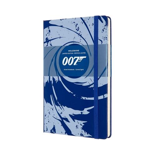 Блокнот в линейку Moleskine Le James Bond Large 13x21 см 192 стр. обложка твердая синяя.