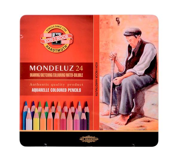 Купить Набор цветных карандашей акварельных Koh-I-Noor Mondeluz 24 цв в металле, KOH–I–NOOR, Чехия