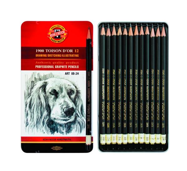 Купить Набор карандашей чернографитных Koh-I-Noor Toison Dor 12 шт (8В-2Н) в металл коробке, KOH–I–NOOR, Чехия