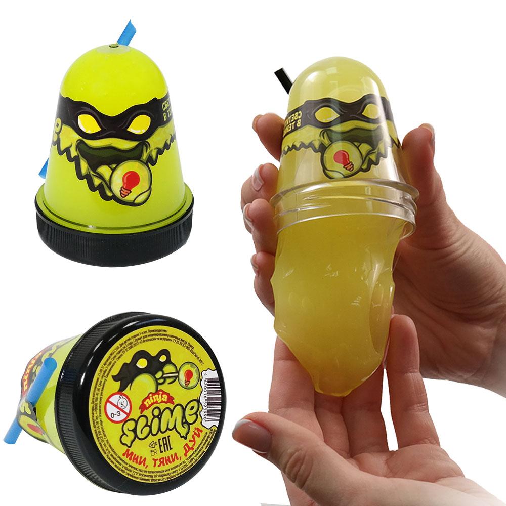 Купить Игрушка Slime Ninja, светится в темноте, жёлтый, 130 гр, Волшебный мир, Россия