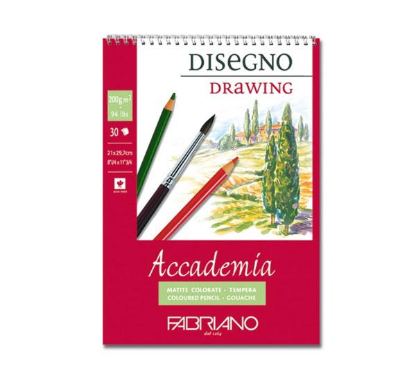 Купить Блокнот для эскизов на спирали Fabriano Accademia sketching 42х59, 4 см 30 л 200 г, Италия
