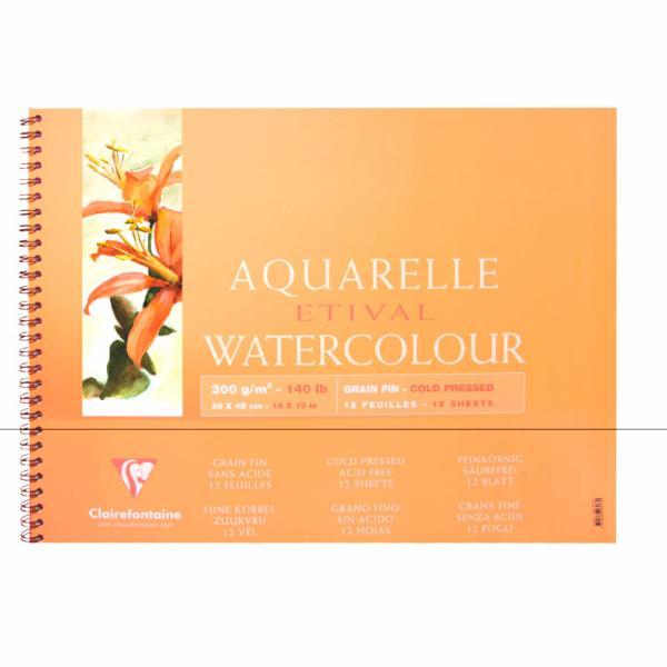 Купить Альбом для акварели на спирали Clairefontaine Etival Torchon 18х24 см 12 л 250 г, Франция