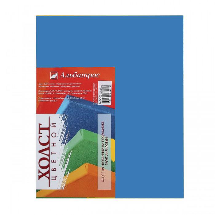 Купить Холст на подрамнике Альбатрос 24х30 см, грунт синий, хлопок 100%, Россия