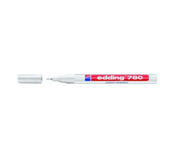 Маркер декоративный лаковый Edding 780 08 мм с круглым наконечником белый.