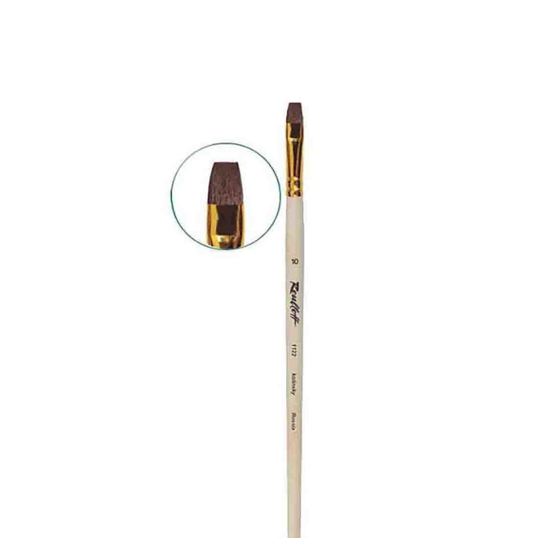Купить Кисть колонок №10 плоская Roubloff 1122 длинная ручка п/лак, Россия