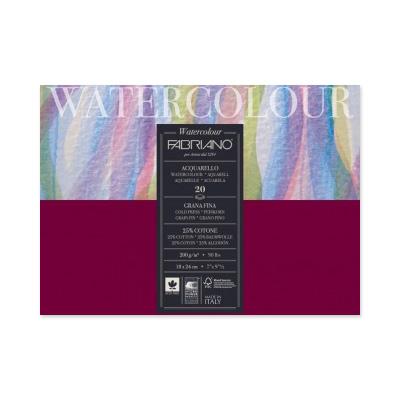 Блокнот-склейка для акварели Fabriano Watercolour 2020 см (открыктки) 20 л 200 г 25% хлопок.