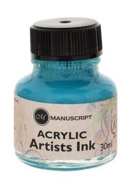 """Тушь акриловая Manuscript """"Acrylic Artists Ink"""" 30 мл, бирюзовый"""