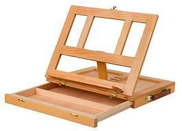 Купить Мольберт настольный деревянный (вяз) с ящиком для красок, 33, 5х26х5 см, Китай