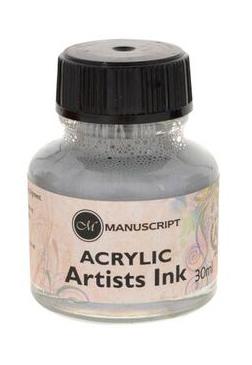 """Тушь акриловая Manuscript """"Acrylic Artists Ink"""" 30 мл, серебристый"""