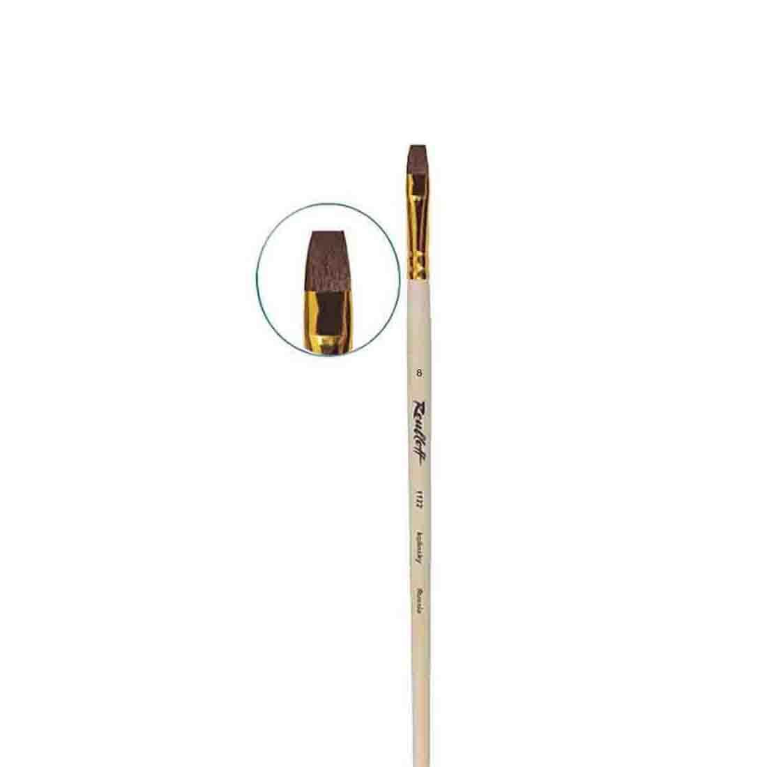 Купить Кисть колонок №8 плоская Roubloff 1122 длинная ручка п/лак, Россия