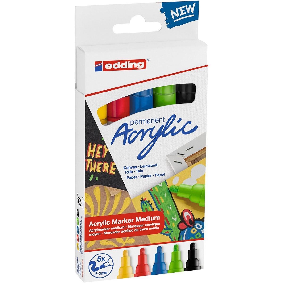 Купить Набор маркеров акриловых Edding 5 шт, 2-3 мм ассорти цвет: 905, 902, 903, 927, 901, Германия