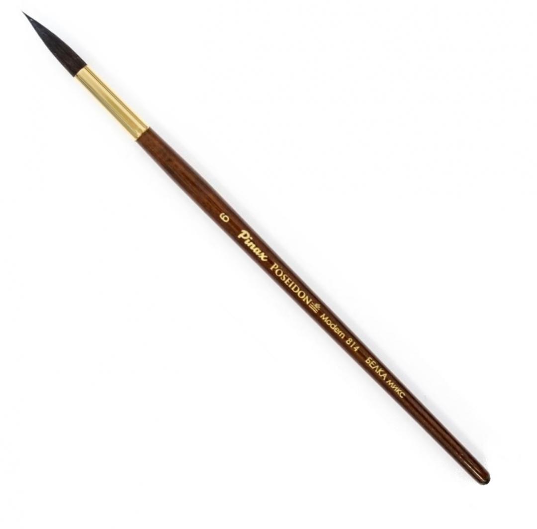 Купить Кисть белка микс №6 круглая Pinax Poseidon 814 короткая ручка, Китай