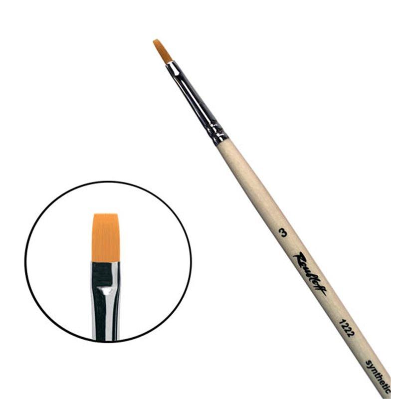 Купить Кисть синтетика №3 плоская Roubloff 1222 длинная ручка п/лак, Россия
