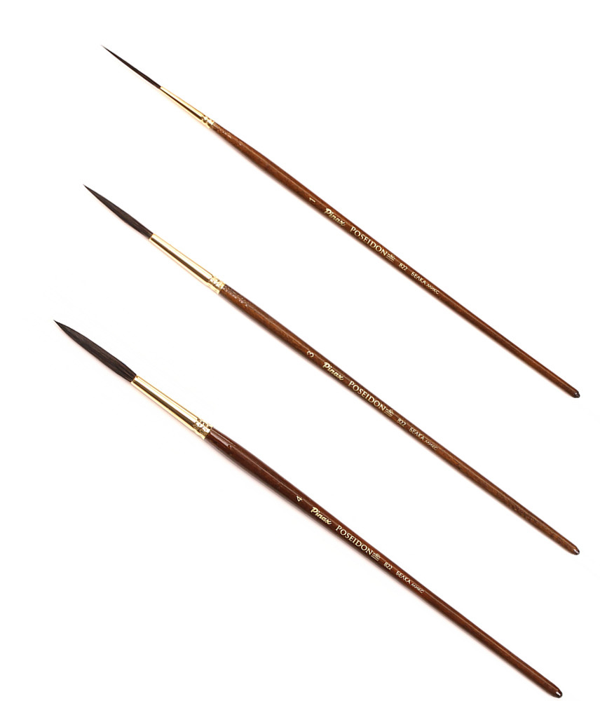 Купить Кисть белка микс лайнер Pinax Poseidon 822 короткая ручка, Китай