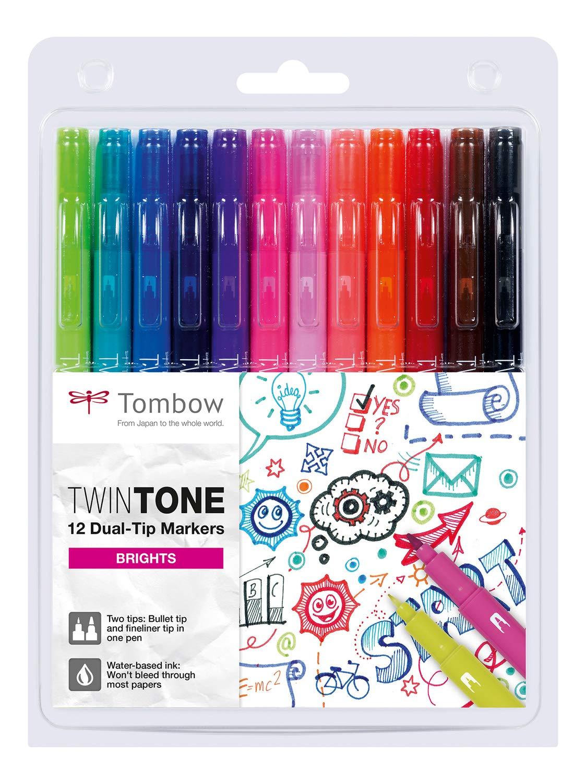 Набор маркеров Tombow TwinTone Brights 12 цв, яркие тона, Япония  - купить со скидкой