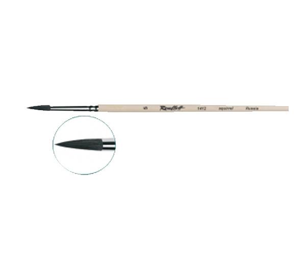 Кисть белка №12 круглая Roubloff 1412 длинная ручка п/лак, Россия  - купить со скидкой