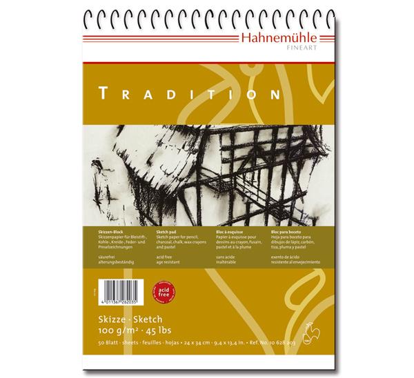 Купить Альбом для эскизов на спирали Hahnemuhle Tradition 24х34 см 50 л 100 г, HAHNEMUHLE FINEART, Германия