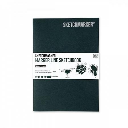 """Купить со скидкой Скетчбук для маркеров Sketchmarker """"MARKER LINE"""" 17,6х25 см 16 л 160 г мягкая обложка, темно-зеленый"""