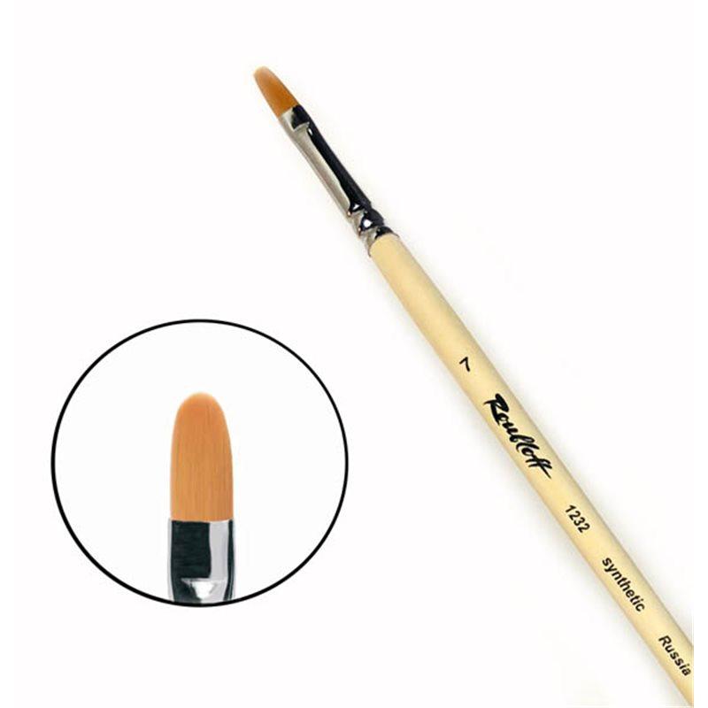 Купить Кисть синтетика №7 овальная Roubloff 1232 длинная ручка п/лак, Россия