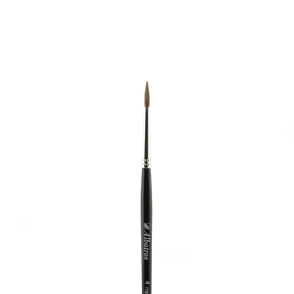 Купить Кисть горный колонок №4 круглая Альбатрос, короткая ручка, Россия