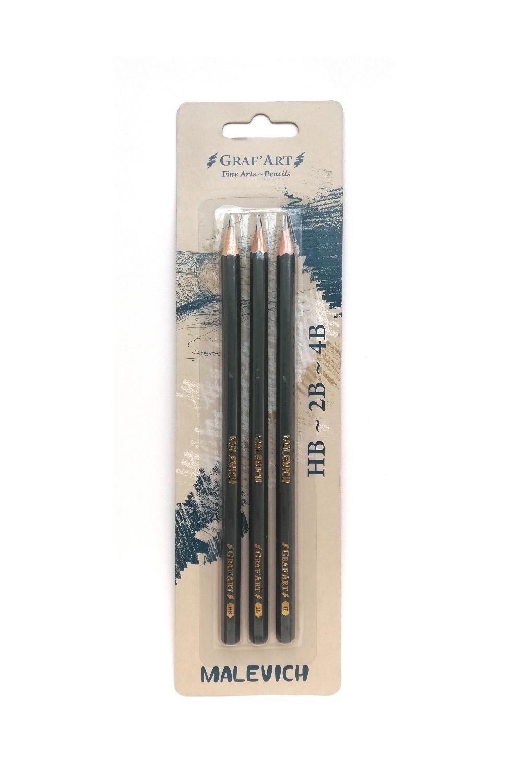 Набор карандашей чернографитных Малевичъ Graf'Art 3 шт, Россия  - купить со скидкой