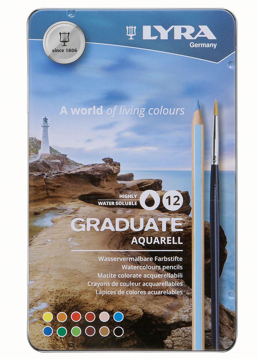 """Набор карандашей акварельных Lyra """"Graduate Aquarell"""" 12 цв, в металлическом пенале"""