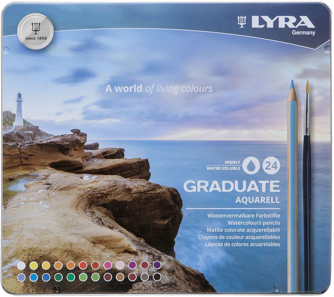 """Набор карандашей акварельных Lyra """"Graduate Aquarell"""" 24 цв, в металлическом пенале"""