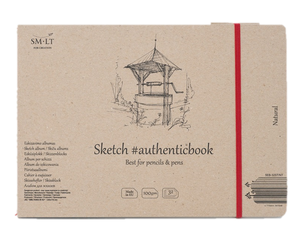Купить Скетчбук Smiltainis Natural #authenticbook (серый) с резинкой 24, 5x17, 6 см 32 л 100 г, Литва