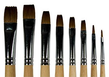 Купить Кисть колонок №20 плоская ЦТИ длинная ручка, Россия