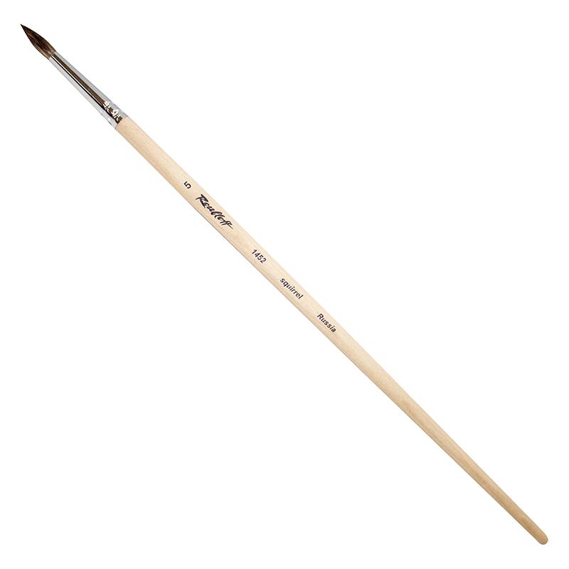 Купить Кисть белка №6 круглая Roubloff 1452 длинная ручка п/лак, Россия