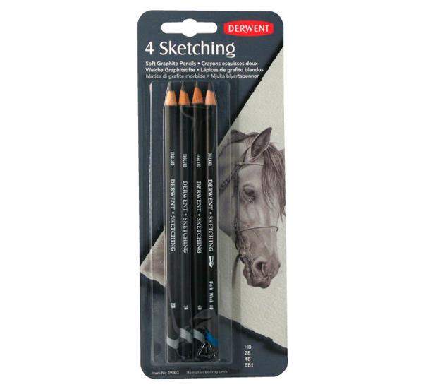 Купить Набор карандашей чернографитных Derwent Sketching Pencils 4 шт (HB, 2B, 4B, 8B) в блистере