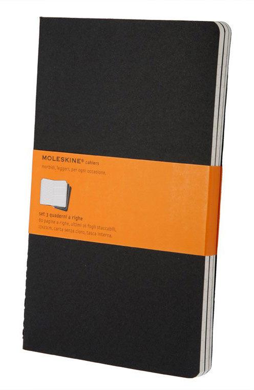 Купить Записная книжка в линейку Moleskine Cahier Journal Large 130х210 мм 80 стр черный (3шт), Китай