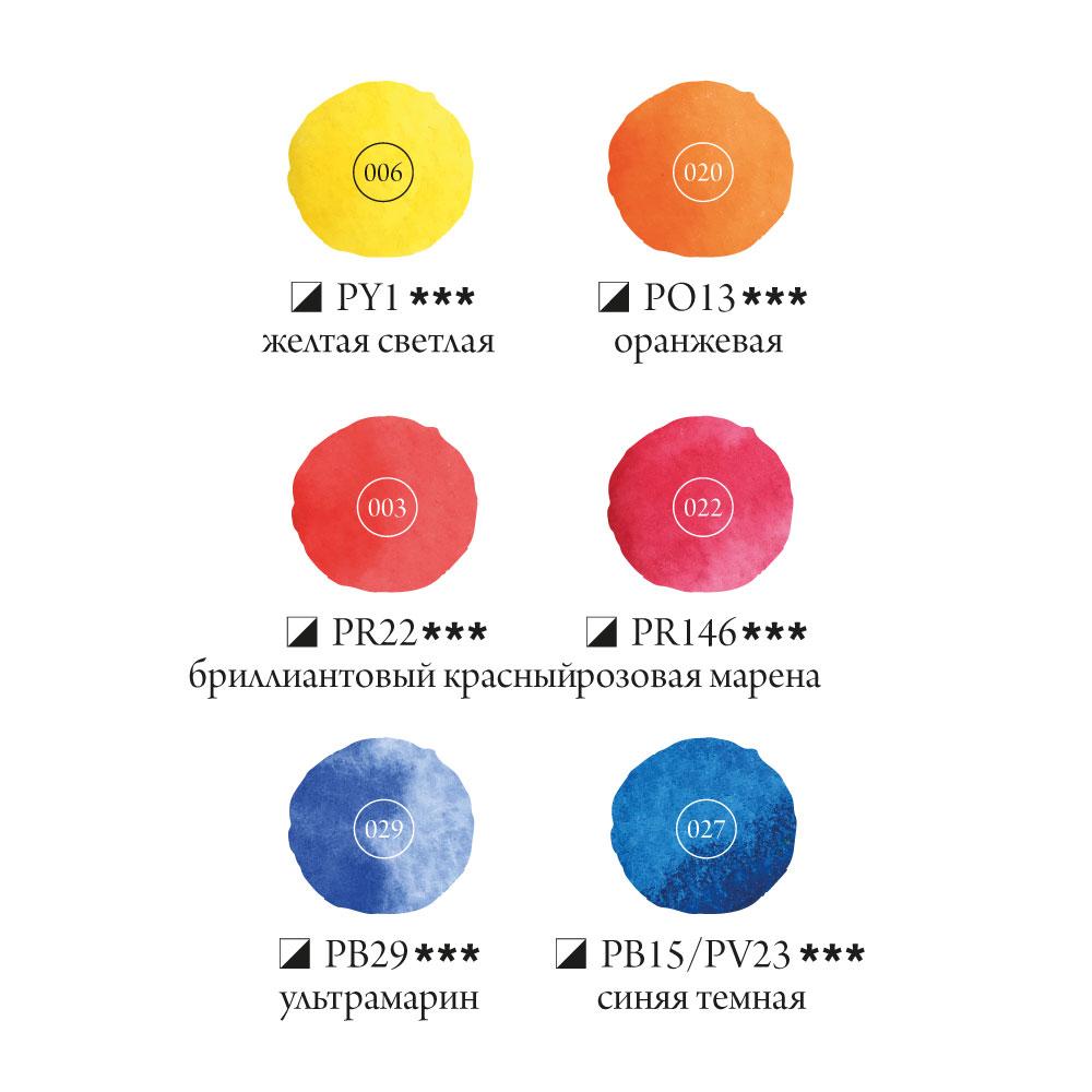 Купить Набор акварельных красок Малевичъ Frida Basic 6 цв*12 мл, Россия