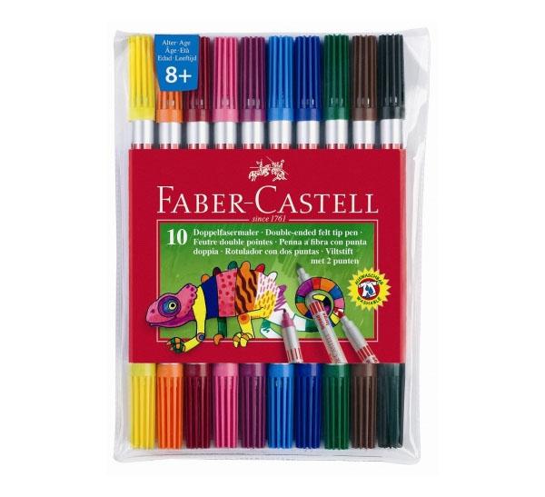 Купить Набор фломастеров Faber-castell 10 цв двухсторонние в футляре, Faber–Сastell, Германия