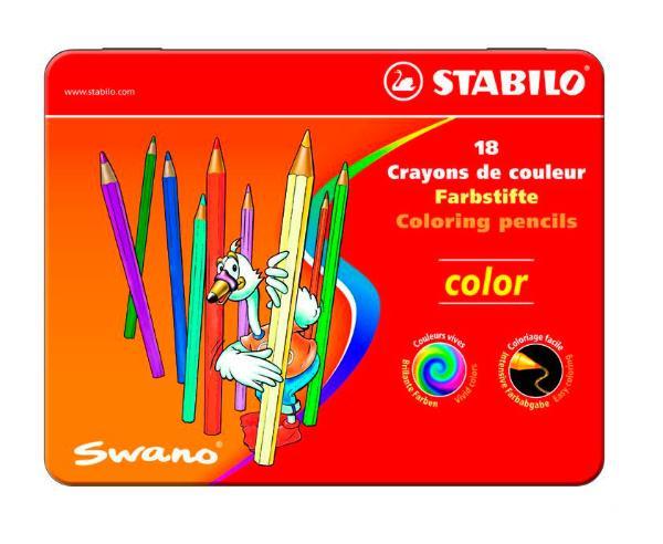 Купить Набор карандашей цветных Stabilo Swano Color 18 цв в металле, Германия