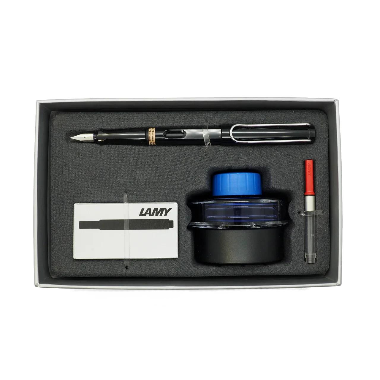 Купить Набор ручка перьевая LAMY Safari, F корпус черный+ картридж черный+ чернила син. + конвертер, Германия