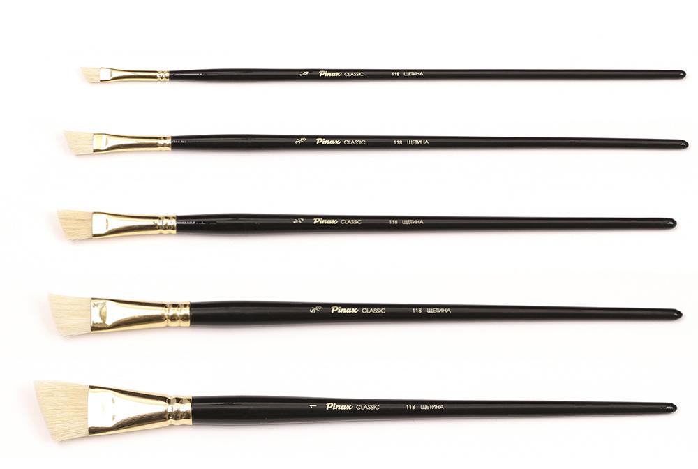 Купить Кисть щетина №1/4 скошенная Pinax Classic 118 длинная ручка, Китай