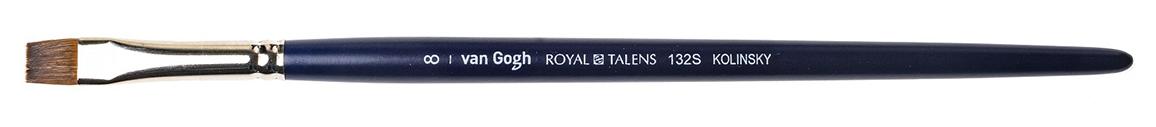 Купить Кисть колонок №8 плоская укороченная Van Gogh 132S короткая ручка, Royal Talens, Россия